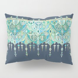 Art Deco Double Drop in Blues and Greens Pillow Sham