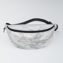 Elegant chic white gray silver glitter marble Fanny Pack
