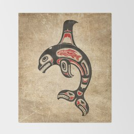 Red and Black Haida Spirit Killer Whale Throw Blanket