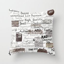 Grunge hipster pattern with different words and signatures Throw Pillow