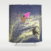 surfing Shower Curtains featuring SURFING by aztosaha
