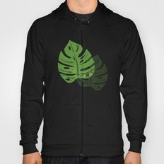Linocut Monstera Leaf Pattern Hoody