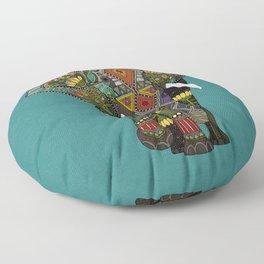 floral elephant teal Floor Pillow