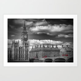 LONDON Big Ben & Red Bus Art Print