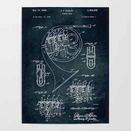French Horn patent Poster