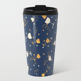 Chic navy blue faux gold glitter party time Travel Mug