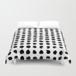 Black and White Minimal Minimalistic Polka Dots Brush Strokes Painting Duvet Cover