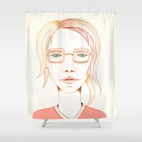 glasses Shower Curtains featuring Glasses by IOSQ