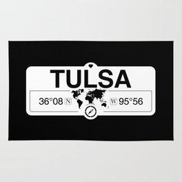 Tulsa Oklahoma Map GPS Coordinates Artwork with Compass Rug