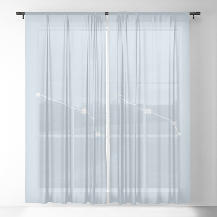 Aries Zodiac Constellation - Pastel Blue Sheer Curtain