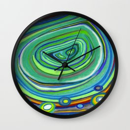 Vibrant Pastel on Suede Tree Ring Abstract by annmariescreations Wall Clock