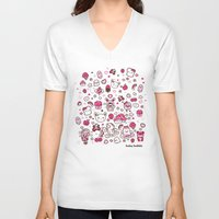 kawaii V-neck T-shirts featuring Kawaii Friends by Gina Mayes