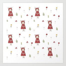 Little Red Riding Hood Girl with Antlers Art Print