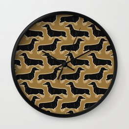 Cute pattern of miniature dachshund dogs in classic colors of black and tan Wall Clock