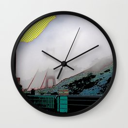 Iconic Golden Gate bridge in the mist art print - San Francisco, California - Cali photography Wall Clock