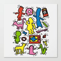 keith haring Canvas Prints featuring Keith Haring & Simpsons by le.duc