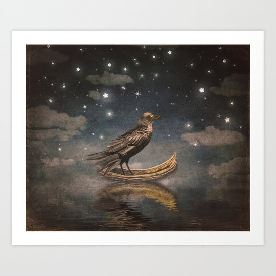 Crow in a boat at the river magical night Art Print