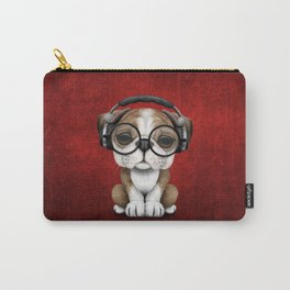 English Bulldog Puppy Dj Wearing Headphones and Glasses on Red Carry-All Pouch