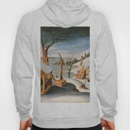 Abel Grimmer, Flemish, active 1592-1619 Winter Landscape with the Angel Appearing to Saint Jos Hoody