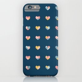 Heart Collage Blue iPhone Case