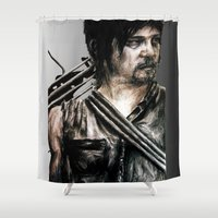 daryl dixon Shower Curtains featuring Daryl Dixon by Mandi Ward