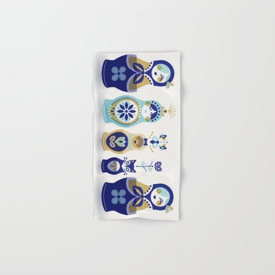 Russian Nesting Dolls – Blue & Gold Hand & Bath Towel