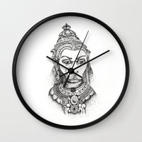 hindu Wall Clocks featuring Hindu Deity (Hanuman) by The Artful Yogini