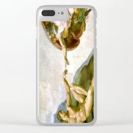 The Creation of Adam Painting by Michelangelo Sistine Chapel Clear iPhone Case