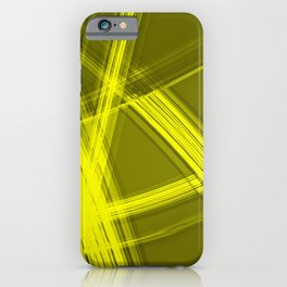 Mirrored edges with canary diagonal lines of intersecting glowing bright energy waves. iPhone Case
