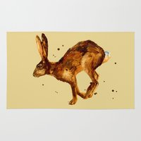 hare Area & Throw Rugs featuring Hare, hare cushion, rabbit pillow by eastwitching