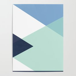 Geometrics - seafoam & blue concrete Poster