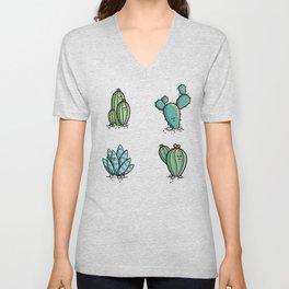 Kawaii Cute Desert Cacti Plants Unisex V-Neck
