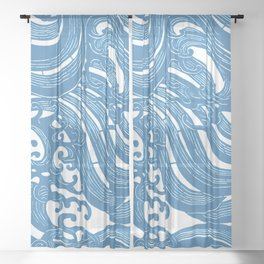 Stencil with Pattern of Waves,19th century Japan (Edited Blue) Sheer Curtain