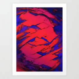 Fractured anger red Art Print