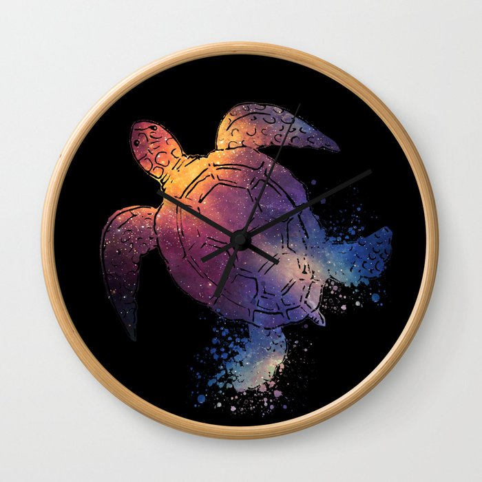 Watercolor Space Turtle Wall Clock