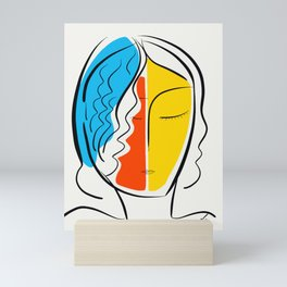 Graphic Minimal Portrait Design Orange Yellow and Blue Mini Art Print