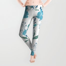 Blue Tropical Flower Transparent Leggings
