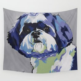 Shih Tzu Pop Art Pet Portrait Wall Tapestry