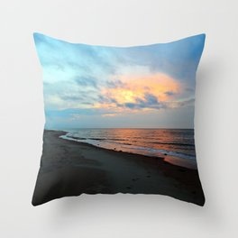 PEI Sandy Beach Sunset Throw Pillow