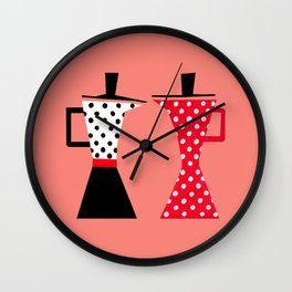 Ole coffee pot in coral Wall Clock