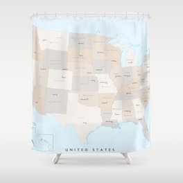 "Map of the USA with states and state capitals, ""Keane"" Shower Curtain"