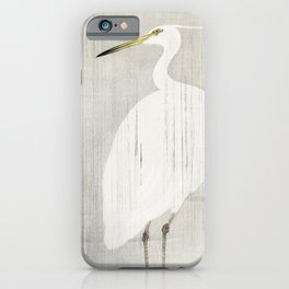Egret standing in the rain - Vintage Japanese Woodblock Print iPhone Case