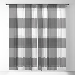 Black & White Buffalo Plaid Sheer Curtain