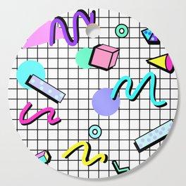 80s Retro Party Grid Design (White BG) Cutting Board