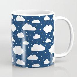 Night Sky, Fluffy White Clouds and Stars on navy - pattern Coffee Mug