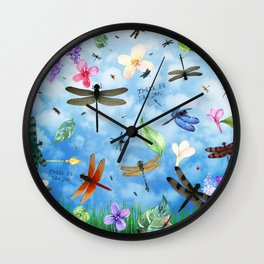 There Be Dragons Whimsical Dragonfly Art Wall Clock