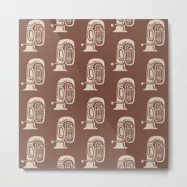 Tuba Pattern Brown and beige Metal Print