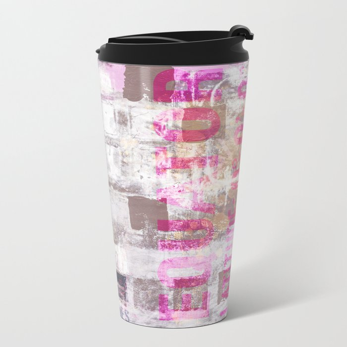 Abstract grunge Squares pating with typography Metal Travel Mug