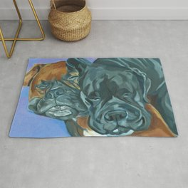 Boxer Buddies Dog Portrait Rug