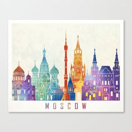 Moscow landmarks watercolor poster Canvas Print